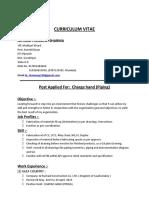 Curriculum Vitae Ram Prawesh Sharma