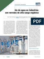 Reutilización de agua en industrias con vertidos de alta carga orgánica