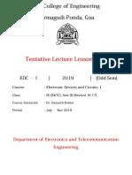 EDC 1 Lecture Plan Odd 2019