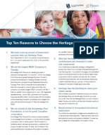 Top Ten Reasons to Choose the Heritage Plans