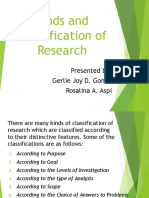 kinds/classification of research