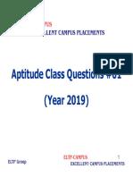 Aptitude Class Questions #01