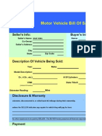 Vehicle Bill of Sale