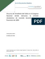 Discurso de Aristóbulo del Valle en el Congreso Nacional donde denuncia la emisión clandestina de moneda durante la crisis financiera de 1890 28 de junio de 1890 Aristóbulo del.pdf