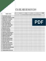 Asistencia Del Mes de Mayo 2019