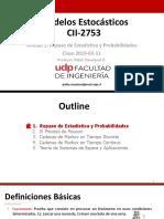 2019 I CII2753 Modelos Estocasticos - Clase 2019-03-11
