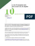 10 Respuestas a Las 10 Preguntas Más Frecuentes Sobre La Nueva Ley de Alquiler
