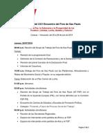 Programa XXV Encuentro Del Foro de Sao Paulo Venezuela 2019