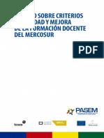 sobre los criterios de mejora en la formación docente del mercosur
