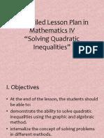 Lesson Plan in Quadratic Inequalities