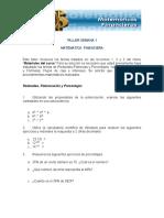 TALLER SEMANA 1 Matematica Financiera