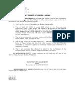 Affidavit or Undertaking