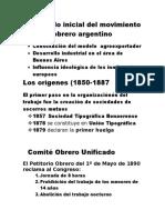 Desarrollo Inicial Del Movimiento Obrero Argentino
