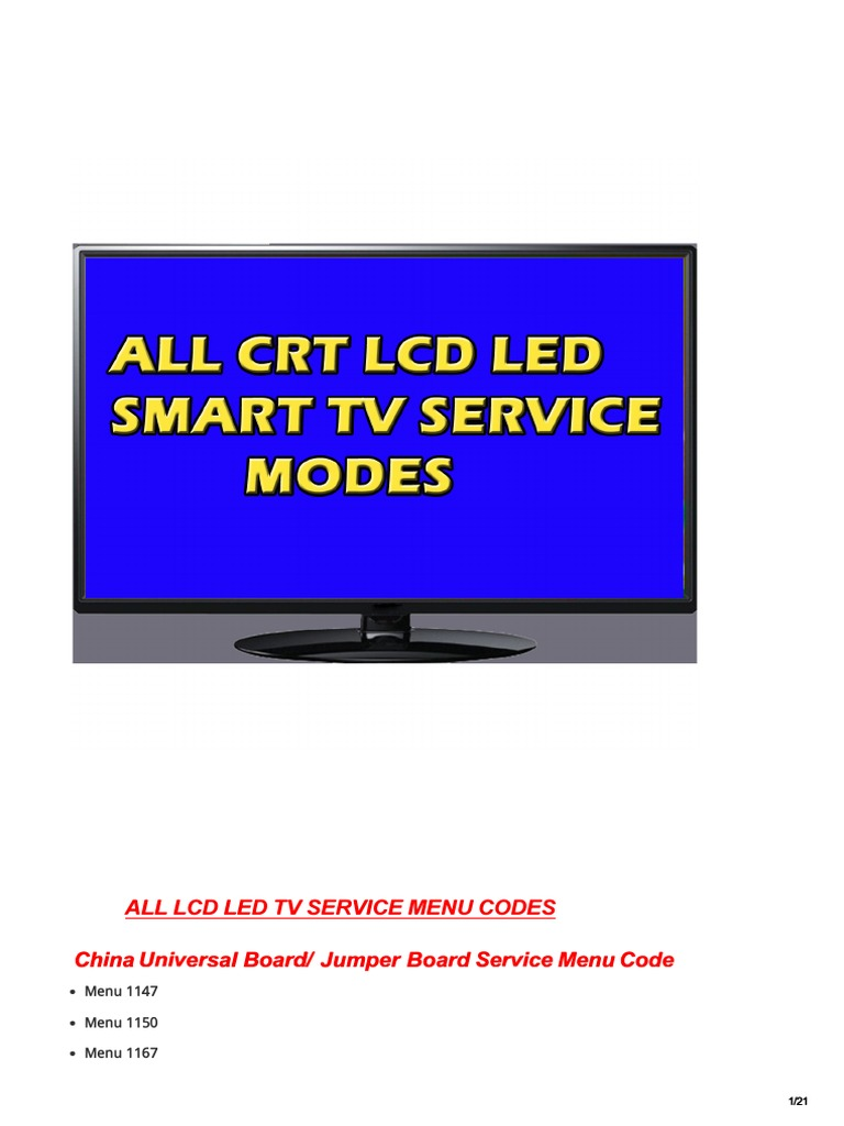 all lcd led tv service menu code for free