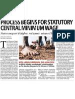 Business Standard - 10 Nov 2010 - Process Begins for Statutory Central Minimum Wage