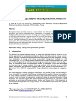 A Review on Exergy of Food Production Processes
