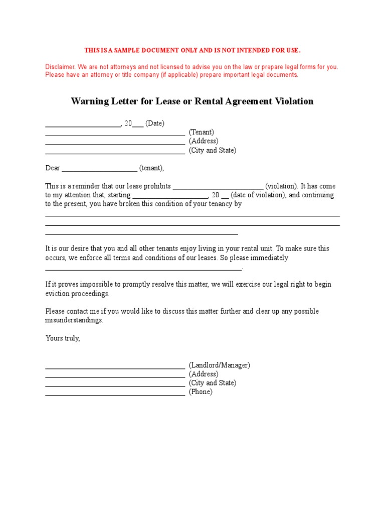 Warning Letter To Tenant For Violations from imgv2-2-f.scribdassets.com