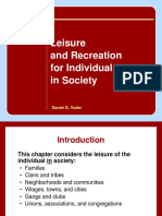 Leisure and Recreation for Individual in Society