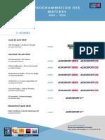 Programme de diffusion des quatre premières journées de Pro D2 (2019-2020)