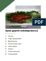 Resep Ayam Geprek Huhah