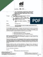 Memorandum Circular No. 18-11-List of Products Under Mandatory Certification (1)