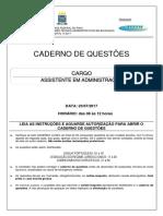 Prova Assistente Administração COPESE UFPI 2017