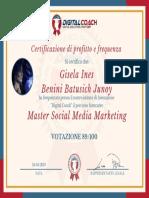 G. Benini Certificato di Profitto e Frequenza