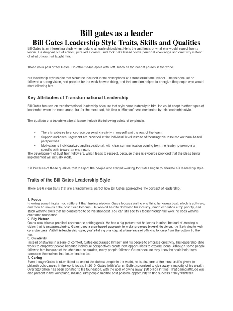 Bill Gates As A Leader Transformational Leadership Leadership