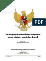 Handout Hubungan Struktural Dan Fungsional Pemerintahan Pusat Dan Daerah