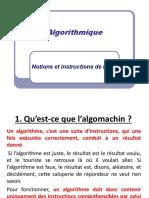 1- Algorithmique Notions