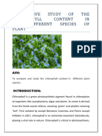 cholorophyll content in five different species of plant