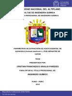 Parametros de Extraccion de Aceite Esencial de Albahaca Por Arrastre de Vapor