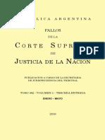 Fallos de la  Corte Suprema de Justicia de la Nacion TOMO 342 – VOLUMEN 1 – TERCERA ENTREGA