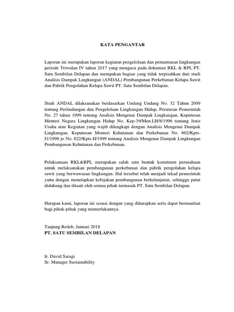 Laporan Pelaksanaan Rkl Rpl Pt 198