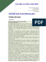 Noticias Del Lunes 15.07.2019