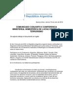 COMUNICADO CONJUNTO II CONFERENCIA MINISTERIAL HEMISFÉRICA DE LUCHA CONTRA EL TERRORISMO