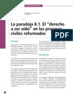 La paradoja 8.1. El derecho a ser oído en los procesos civiles reformados