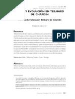 BIBLIA Y EVOLUCIÓN EN TEILHARD DE CHARDIN