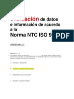 Análisis y evaluación de datos e información de acuerdo a la Norma NTC ISO 9001 - cuestionario examen aa3