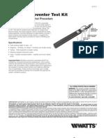 No. TK-7 Backflow Preventer Test Kit Installation Instructions