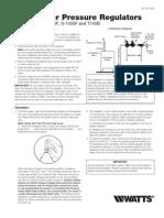 Feed Water Pressure Regulators Installation Instructions