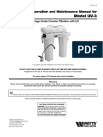 Installation, Operation and Maintenance Manual for Model UV-3 Installation Instructions