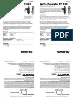 Watts Regulator FR 500 Installation Instructions