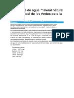 Beneficios de Agua Mineral Natural de Manantial de Los Andes Para La Salud