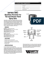 Series S8C Backflow Preventer for Tub and Shower Hand Spray Sets Specification Sheet