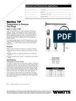 Series TP Temperature or Pressure Test Plugs Specification Sheet