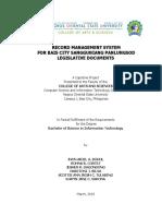 Record Management System for Bais City Sangguniang Panlungsod Legislative Documents Pp