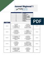 Calendriers 2019-2020 Régional 1
