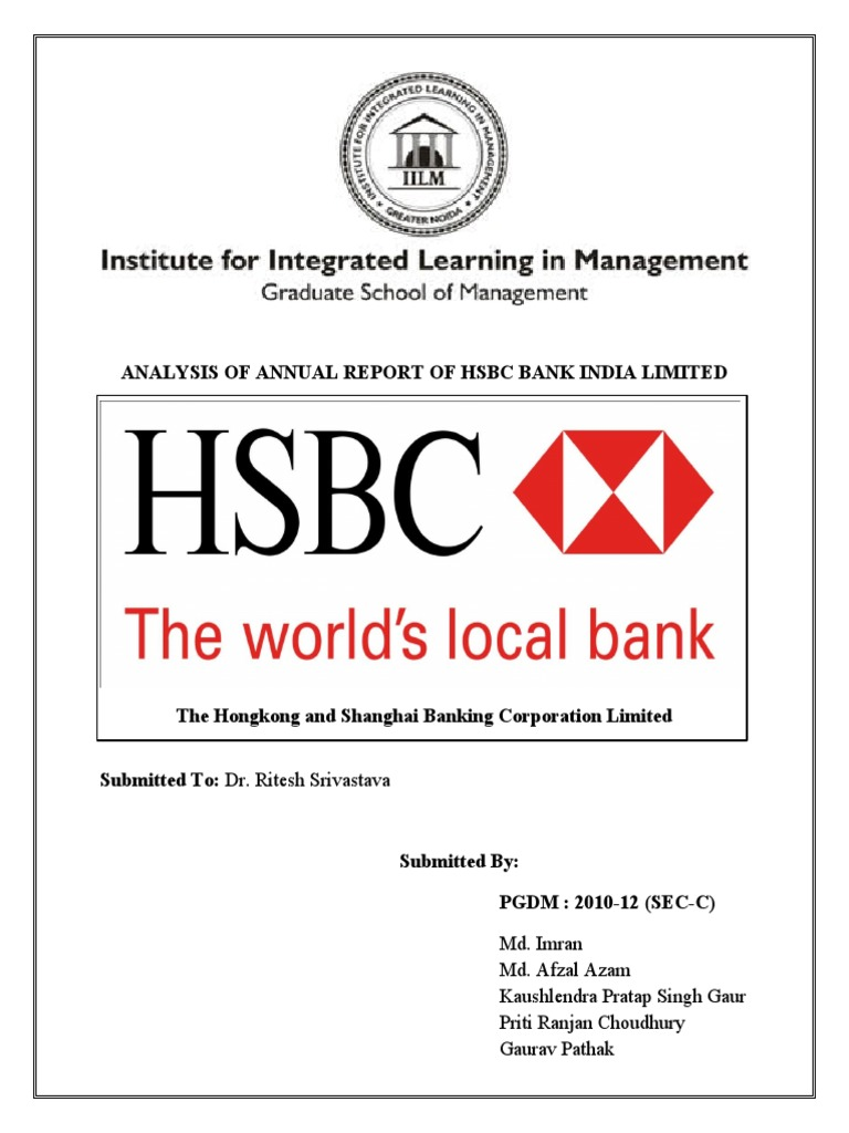 Analysis of Annual Report of Hsbc Bank India Limited | Business