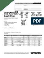 Lead Free Multi-Turn Water Supply Stops Specification Sheet